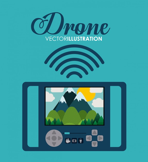 Drone tecnologia design, illustrazione vettoriale. Vettore Premium
