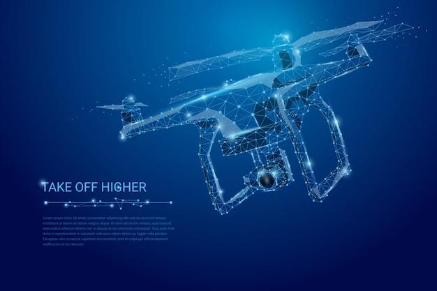 Drone volante con videocamera di azione sul banner blu scuro Vettore Premium