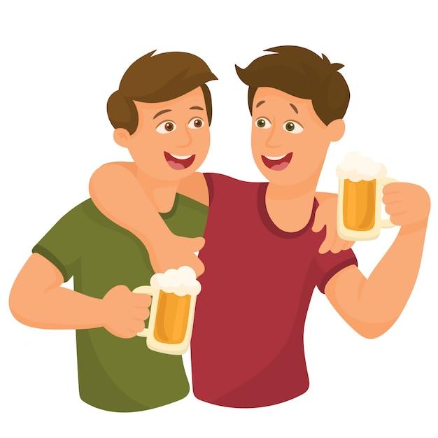 Due amici che bevono birra Vettore Premium