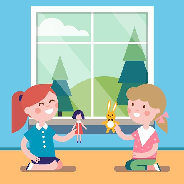 Due amici che giocano con le bambole del giocattolo insieme Vettore gratuito
