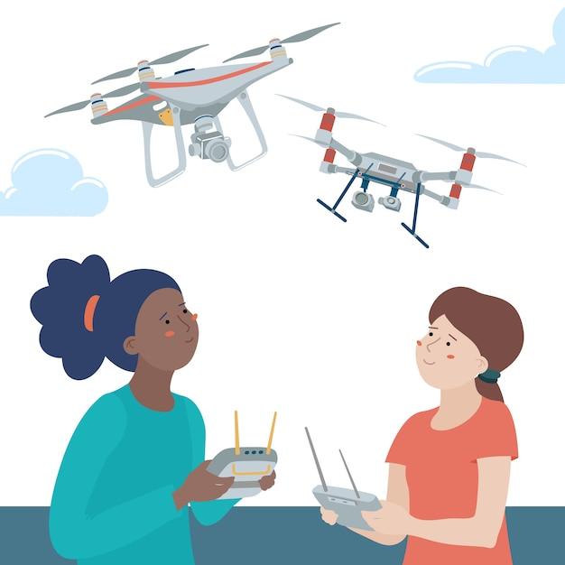 Due bambini, ragazze adolescenti, neri e caucasici, che giocano con i droni quadricoptero usando i telecomandi all'aperto Vettore Premium