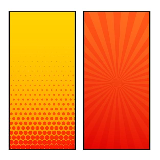 Due banner design stile fumetti verticale Vettore gratuito