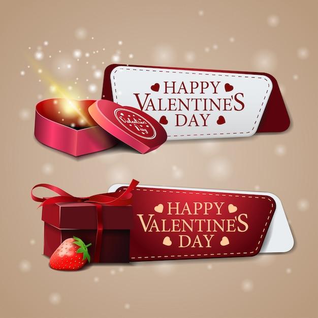 Due banner di auguri per san valentino con regalo Vettore Premium