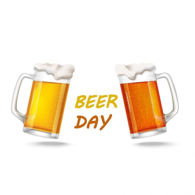 Due bicchieri di birra chiara Vettore Premium