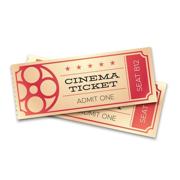 Due biglietti realistici di cinema o teatro con codice a barre. ammetti ora i coupon per l'ingresso delle coppie. concetto di vettore Vettore Premium