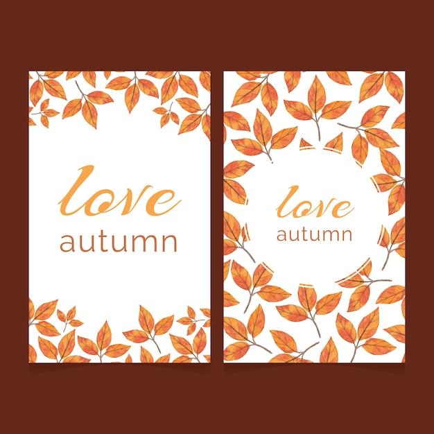 Due carte autunnali con foglie di acquerello brillante Vettore Premium