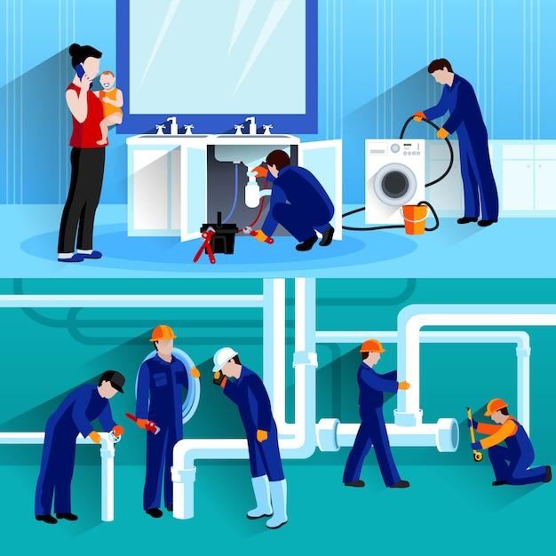 Due composizioni orizzontali idraulico Vettore gratuito