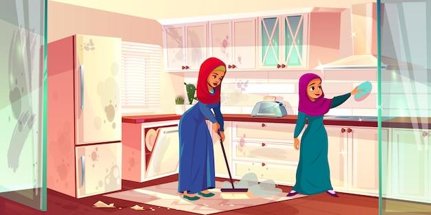Due donne arabe puliscono la cucina Vettore gratuito