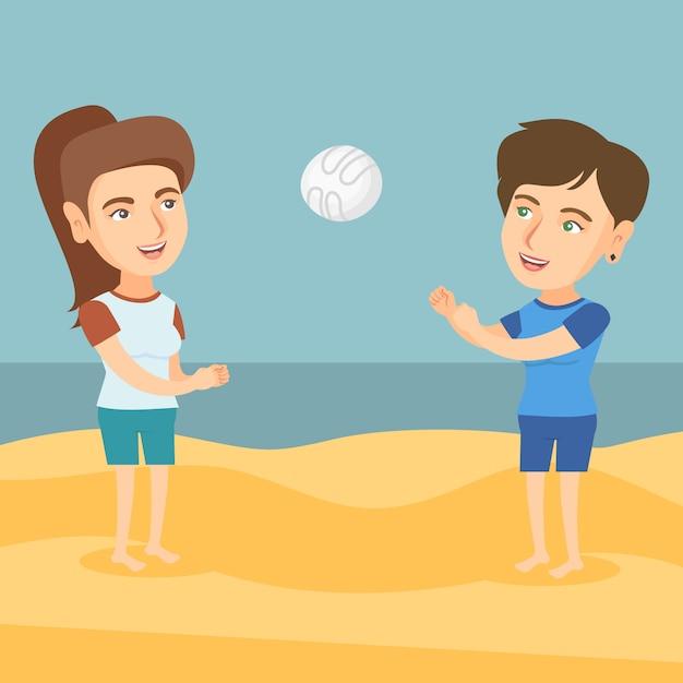 Due donne caucasiche che giocano a beach volley. Vettore Premium