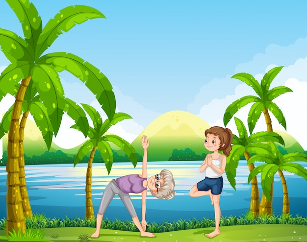 Due donne che fanno yoga nel parco Vettore gratuito