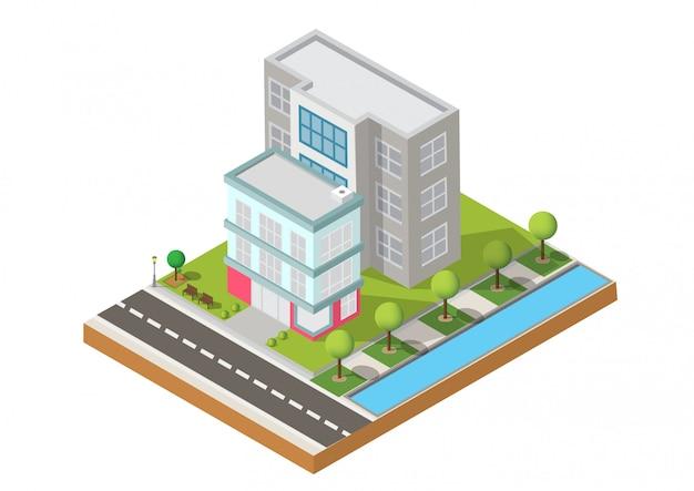 Due edifici su yard con strada Vettore Premium