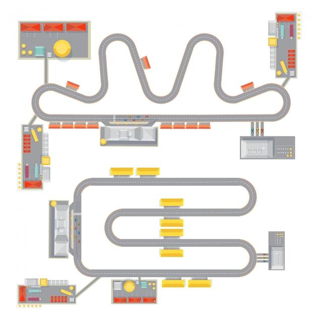 Due immagini complete del modello di pista da corsa complete con vista dall'alto degli edifici del garage del corso e tribune Vettore gratuito