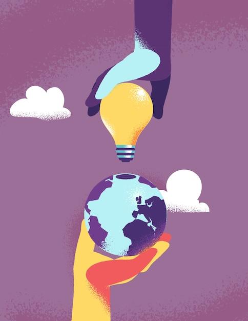 Due mani che collegano una bolla leggera al globo della terra Vettore gratuito