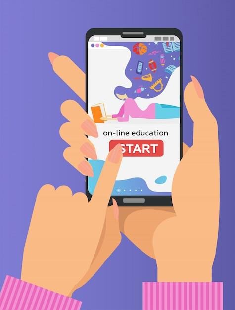 Due mani che tengono il telefono cellulare con app educativa sullo schermo. e-learning a distanza. il dito spinge il pulsante di avvio Vettore Premium