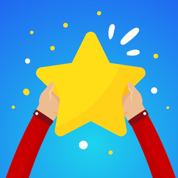Due mani maschili in possesso di una grande stella gialla su un cielo blu Vettore Premium