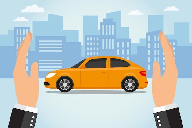 Due mani proteggono un'auto Vettore Premium