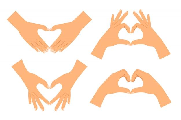 Due mani rendendo a forma di cuore isolato Vettore Premium