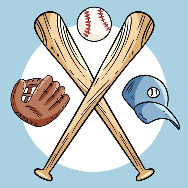 Due mazze da baseball incrociate e palla, icona sport logo Vettore Premium
