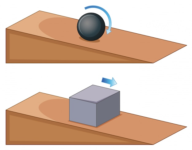 Due oggetti che rotolano sul pendio Vettore gratuito