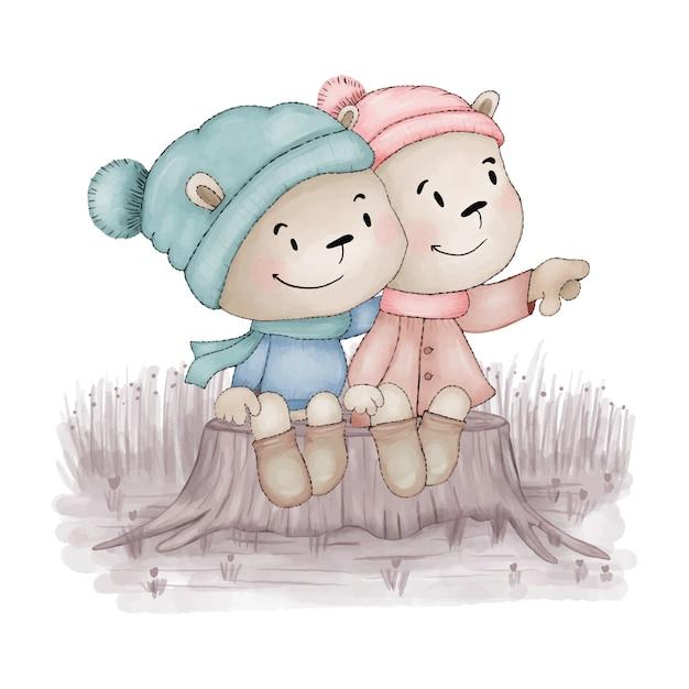 Due orsacchiotti si abbracciano Vettore Premium