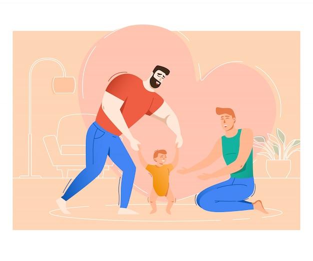 Due padri che crescono figlio Vettore gratuito