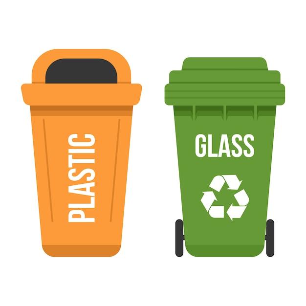 Due pattumiere multicolori riciclate piatte Vettore Premium