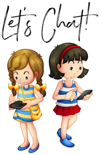 Due ragazze chiacchierano al telefono Vettore gratuito