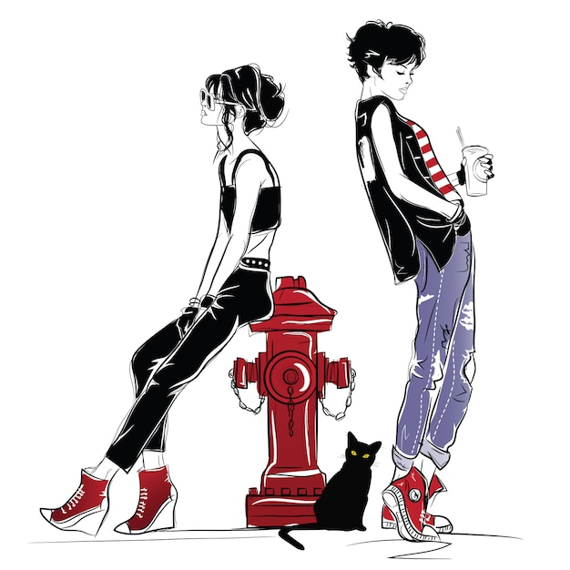 Due ragazze di moda in stile schizzo. Vettore Premium