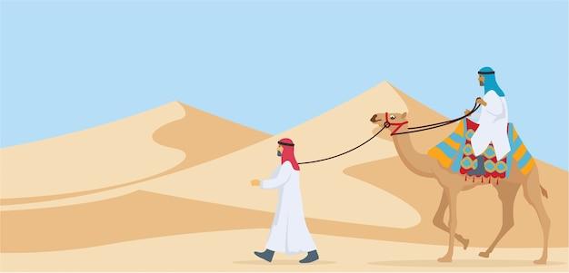 Due ragazzi che cavalcano e camminano nel deserto attraverso il loro cammello Vettore Premium