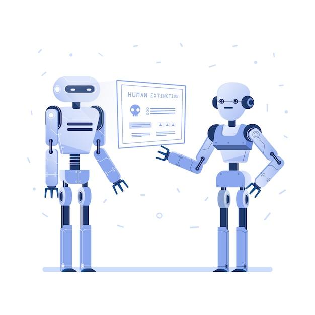Due robot esaminano l'interfaccia hud virtuale. Vettore Premium