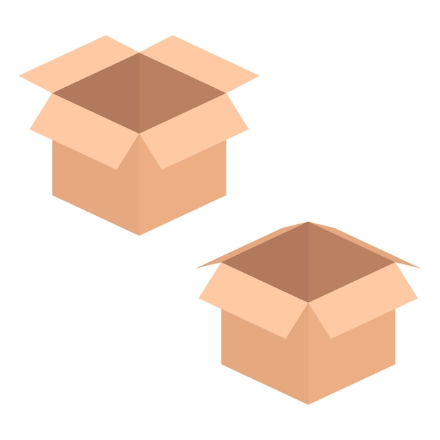 Due scatole aperte Vettore Premium