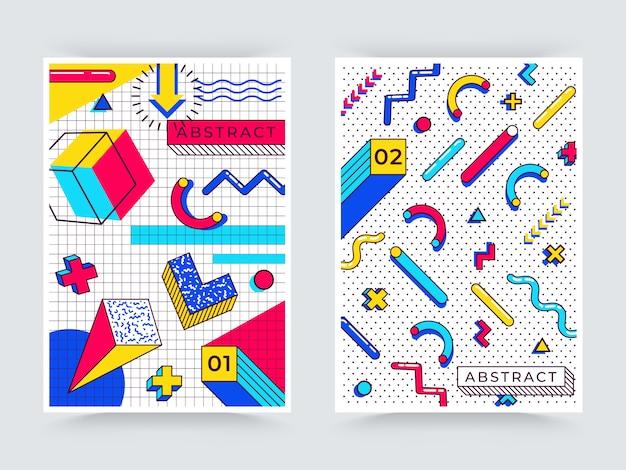 Due sfondi verticali di memphis. astratti anni '90 elementi di tendenza con forme geometriche semplici multicolori. forme con triangoli, cerchi, linee Vettore Premium