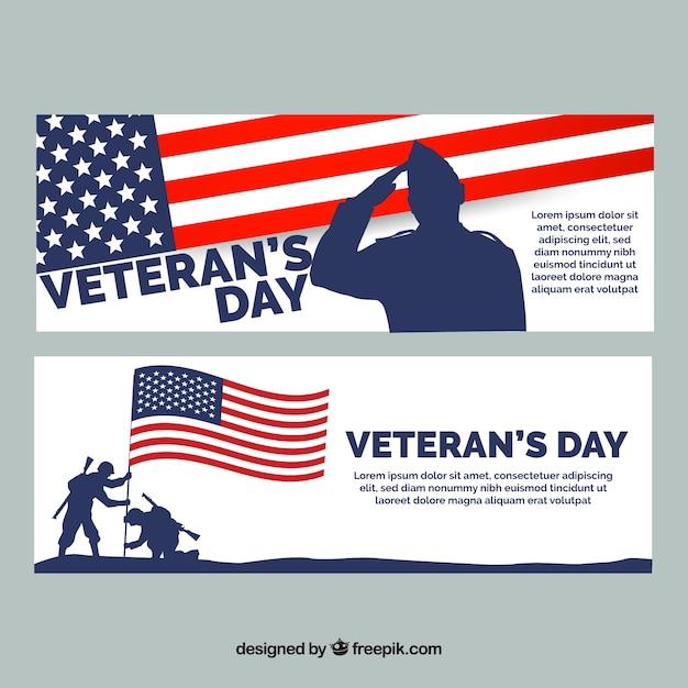 Due striscioni con soldati gli stati uniti per i veterani giorno Vettore gratuito