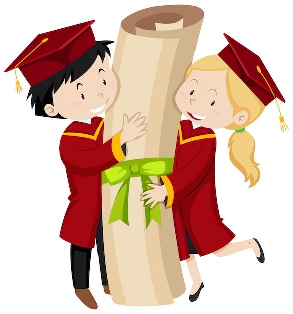 Due studenti laureati in possesso di un diploma gigante Vettore gratuito