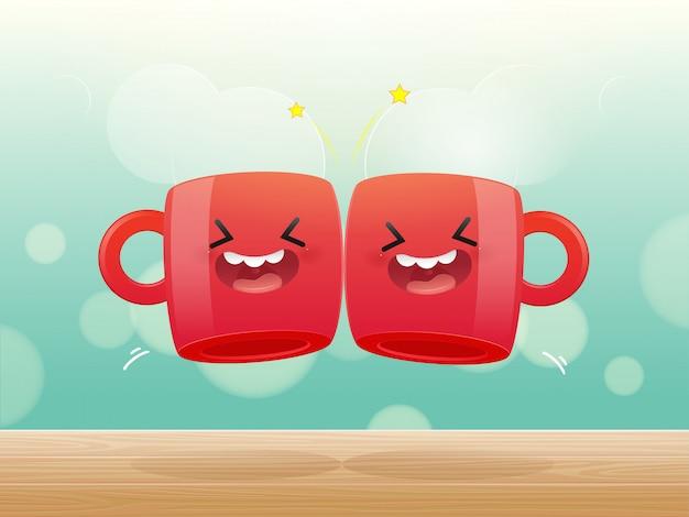 Due tazze rosse di clic della bevanda Vettore Premium