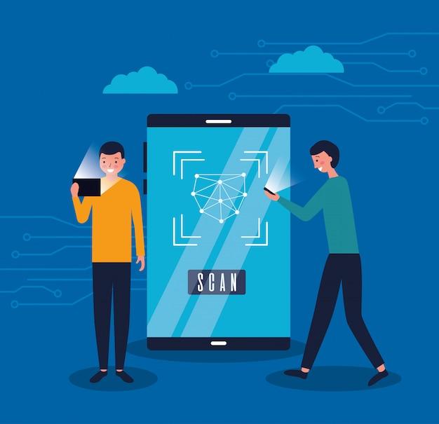 Due uomini con digital face scan mobile Vettore gratuito