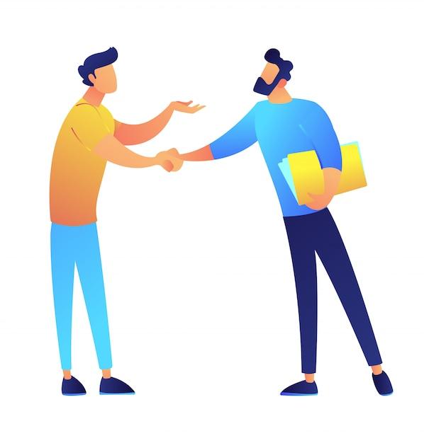 Due uomini d'affari che stringono l'illustrazione di vettore delle mani. Vettore Premium