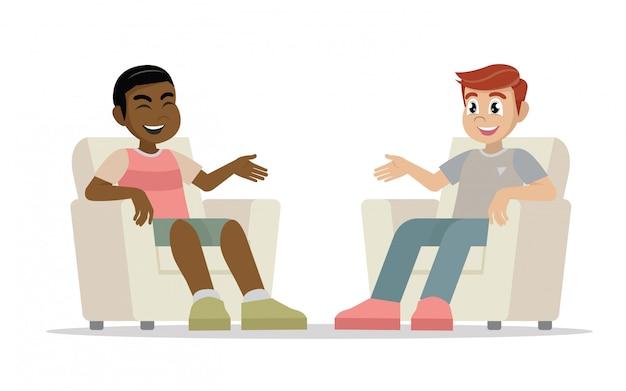 Due uomini seduti in sedie di fronte a vicenda avendo in conversazione. Vettore Premium