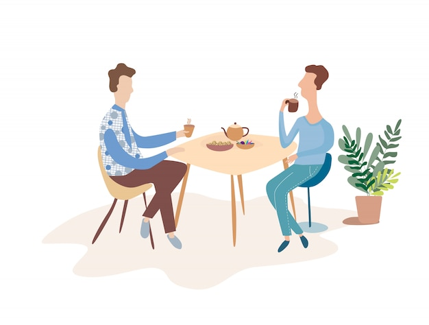 Due uomini stanno parlando a un tavolo in un caffè. discutere di una tazza di tè. illustrazione vettoriale piatto moderno. Vettore Premium