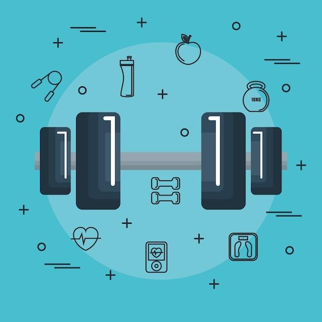 Dumbbell con oggetti disegnati a mano legati all'esercizio su sfondo blu. illustrazione vettoriale Vettore Premium