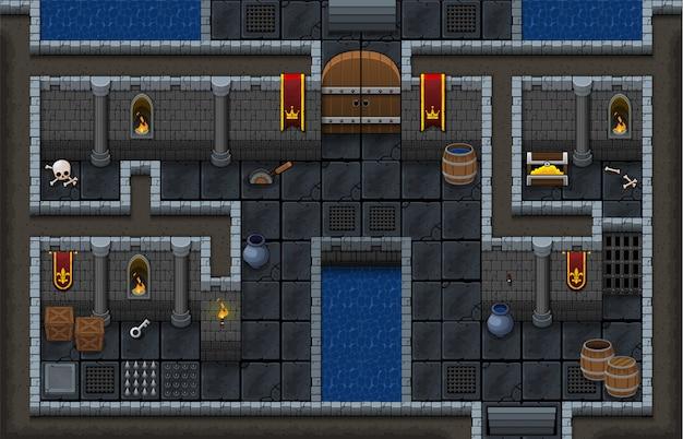Dungeon game tileset Vettore Premium