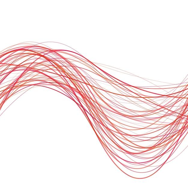 Dynamic abstract wave background linea - illustrazione vettoriale da righe rosse curve Vettore gratuito