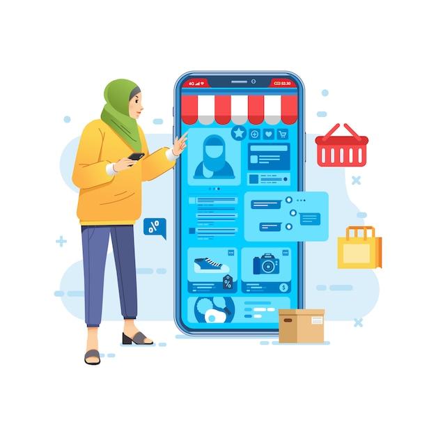 E-commerce applicazione negozio online per smartphone, le donne che indossano l'hijab lo shopping online da smartphone Vettore Premium