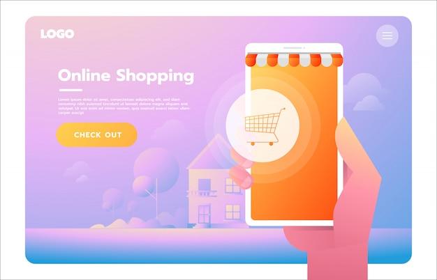 E-commerce, commercio elettronico, acquisti online, pagamento, consegna, processo di spedizione, vendite Vettore Premium