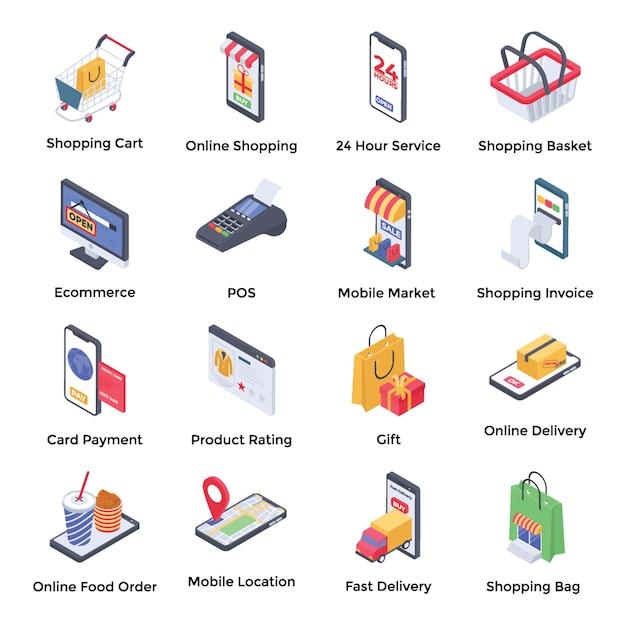 E commerce icone isometriche Vettore Premium