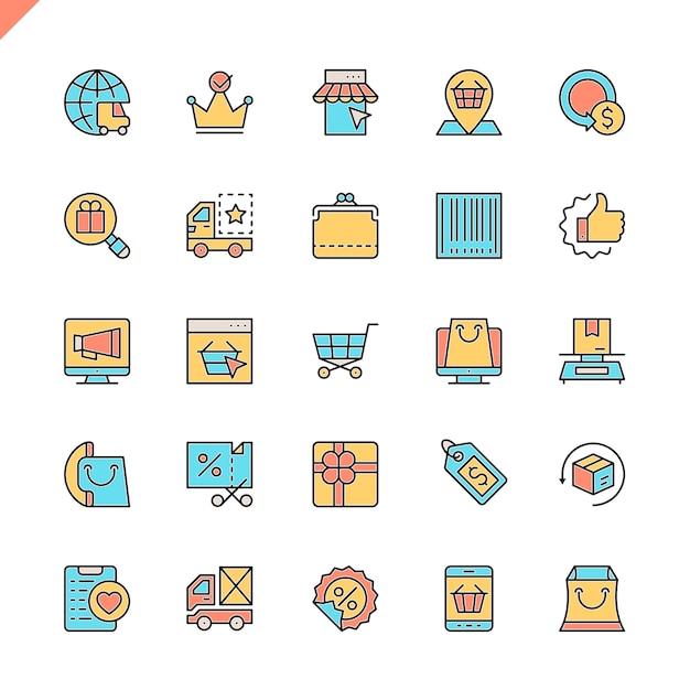 E-commerce linea piatta Vettore Premium