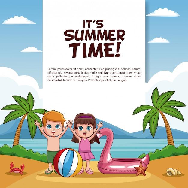 È la carta dell'ora legale con i bambini in cartoni animati sulla spiaggia Vettore Premium