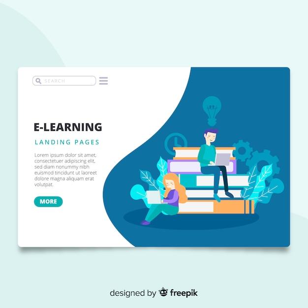 E-learning landing page Vettore gratuito