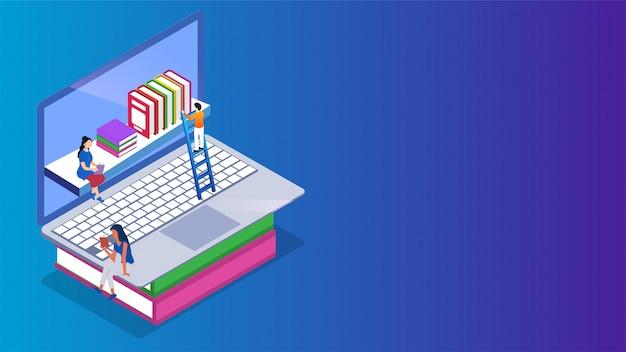 E-library isometrica o libreria online sul laptop. Vettore Premium