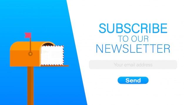 E-mail iscriviti, modello vettoriale newsletter online con cassetta postale e pulsante di invio. Vettore Premium